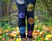 Organic Black Chakra Yoga Leggings | handmade | eco wear | boho fashion | Fair trade | Sacred Geometry | Yoga Wear