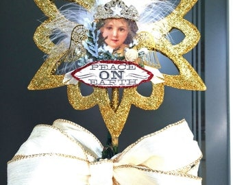 Christmas tree topper Star Gold Tree top Assemblage Angel Vintage Style Tree Star Gold Christmas decorations Ivory wired ribbon bow