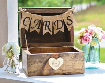 rustic wedding card box burlap banner farm wedding reception card box