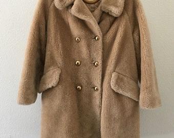 Faux Fur Honey Brown Pea Coat