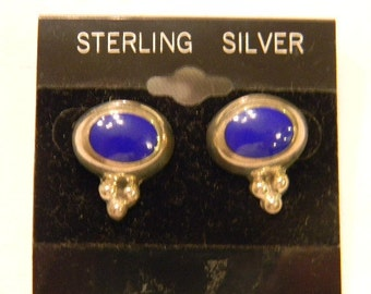 "Classic yet Fashionable 925 Sterling Silver Blue Oval Stone Post Earrings .75"" Long #753"