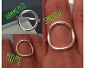 Sterling Silver Circle Ring, Circle Ring