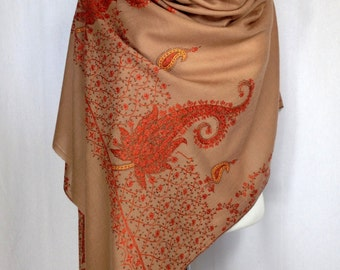SALE!! KASHMIR SHAWL, hand embroidered, wool, wrap, shawl, decor throw, pashmina, meditation, warm