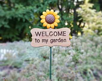 SALE! Welcome to My Garden Sunflower Miniature Sign - Fairy Garden Sign Miniature Garden Accessories Garden Miniatures Sunflower Sign