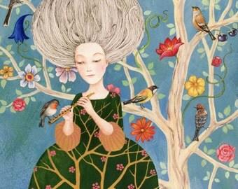 "Postcard ""flutist"" (Artist: Rita Wolff)"