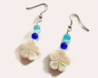 Blue and White Flower Earrings - Colorful Earrings - Homemade Jewelry - Handmade Earrings - Dangle Earrings - Beaded - Nautical