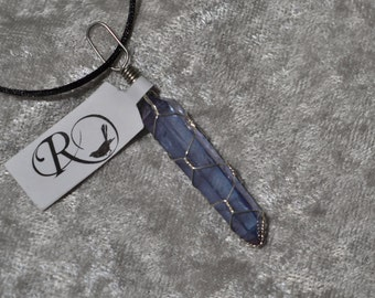 Tanzan Aura Double Terminated Crystal Point Silver Wire Wrapped Healing Pendant