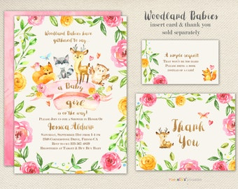 Girl Baby Shower Invitation - Woodland Shower Creatures Forest Friends