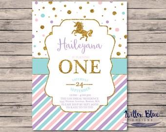 Unicorn Birthday Party, Gold Glitter Unicorn, Birthday Invitation #022  5x7 or 4x6 Printable Invitation