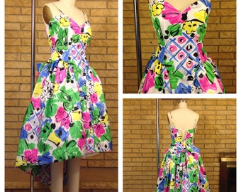 Vtg 1980's Floral Novelty Print Satin Hi-Low Hem Prom Formal Dress Size S