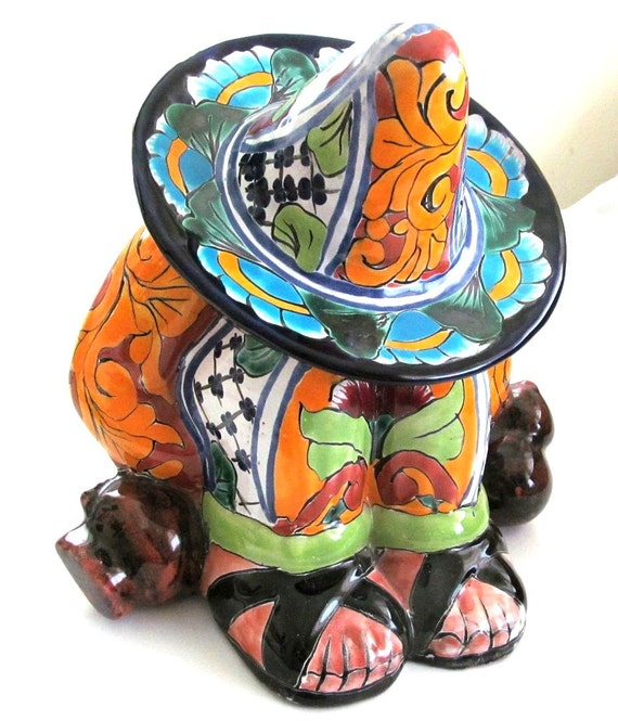 Magnificent Vintage Pottery Clay TALAVERA Cookie Jar SIESTA TIME Gorgeous Colors