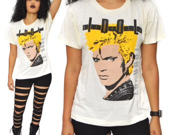Vintage 80s Billy Idol Whiplash Smile Tour T Shirt Sz M