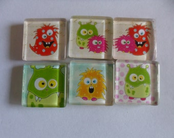 Crazy Monster Glass Magnet - 1 inch square