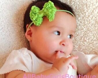 Green Baby Headband, Baby Headband, Bow Headband, Green Headband, Newborn Photo Prop, Girls Headband, Infant Bow Headband