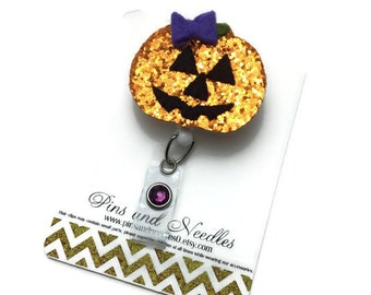 Halloween ID Badge Reel - Halloween Badge Reel - Pumpkin Badge Holder - Designer ID Badge - Glitter Id Badge - Jack o Lantern ID Badge Reel