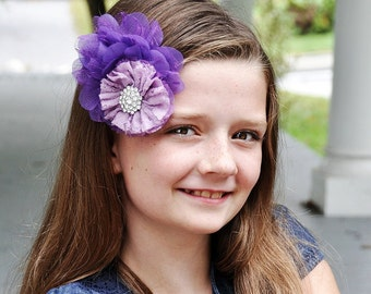 Purple flower clip, purple lace and chiffon flowers with a super sparkly rhinestone, girls hair flower, flower hairclip hair accessory