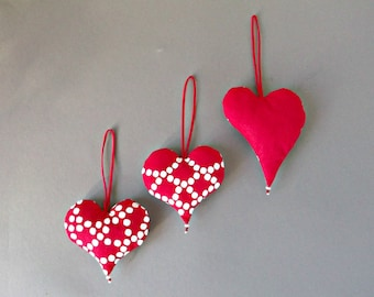 Red hanging heart decors Stuffed hearts Fabric Christmas tree ornaments Valentine's day decorations
