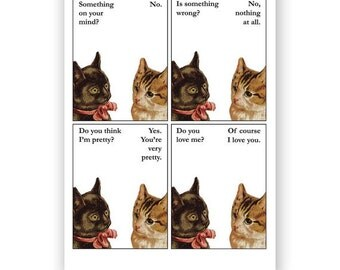 Something on my mind - Pretty Kitties Cat Card  - Blank Inside for your own message