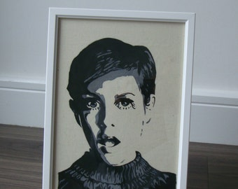Hand Painted Twiggy Portrait 1960's Super Model Fabric Paint on Calico Framed | Monochrome black and white Art