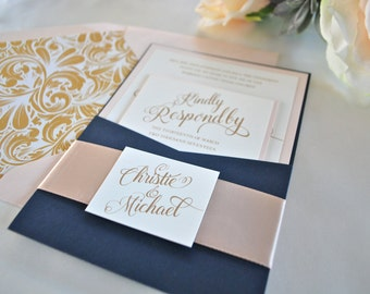 Navy Blue, Gold and Blush Pocket Wedding Invitation-Simply Glamorous- Navy and Blush Invite (NOT SAMPLE LISTING) Colors/wording Customizable