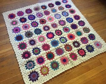 Baby Girl Granny Square Blanket - Homemade Baby Gift - Made to Order- Baby Shower Afghan