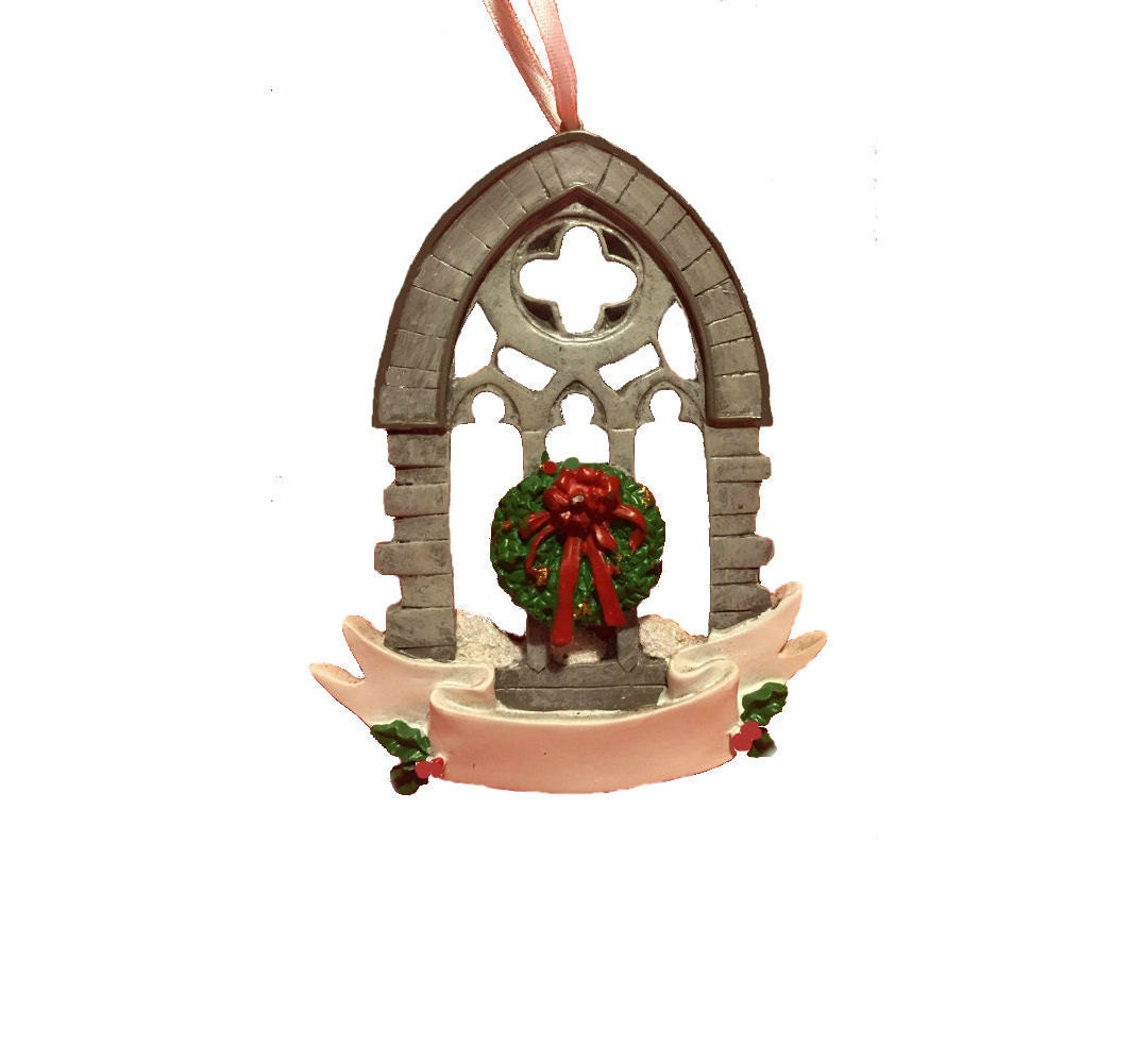 Clearance gothic church window ornament window with for Christmas ornaments clearance