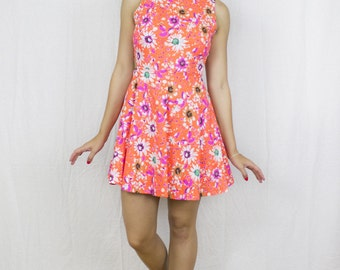 Cut Away Skater Dress in Neon Orange Floral Print by Get Crooked