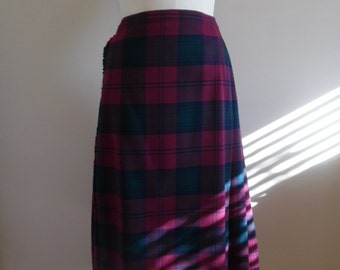 Kilt, Skirt, Vintage 1990s Burberrys Deep Red, Green and Blue Tartan Plaid Kilt Skirt with Leather Straps and Silvertone Buckles