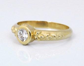 Unique Diamond Engagement Ring, Leaf Diamond Ring, Unique Diamond Ring, 14k Gold Diamond Ring, Bold Ring, Diamond Gold ring, Solid Gold Ring