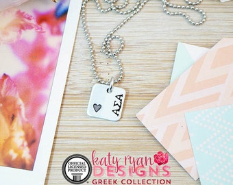 Alpha Sigma Alpha Necklace - Official Licensed Product - ΑΣΑ Necklace - Sorority Big Little - Bid Day Gift - Hand Stamped Silver Necklace