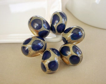 SRA Lampwork Beads, Cobalt Blue Silvered Glass, Destash Lampwork Beads - 6 beads