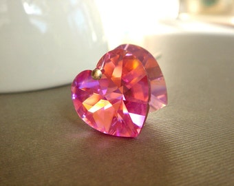18mm Rose Swarovski, 6202 Heart  Pendant Beads, Pink Heart,  2 pieces