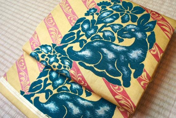 Yellow striped Nagoya obi, yellow Japanese obi, antique silk obi belt, vintage obi stripes, floral obi, rare kangaroo animal obi taisho