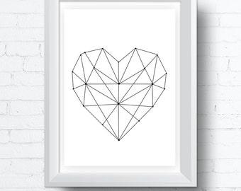 Geometric Heart Printable Wall Art Digital Download. Modern Contemporary Wall Art (various sizes) Gallery Wall Print