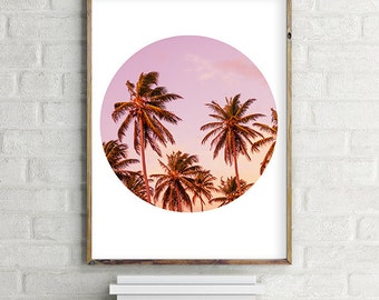 Palm Tree Printable Wall Art Poster | Beach house, boho, pink| (8x10 and various sizes) Gallery Wall Print