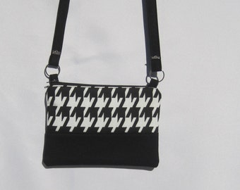 Classic black and white, hounds tooth canvas cotton print, cross body purse with a strap