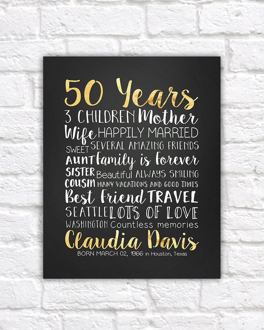 50 Years 50th Gift Golden Year 50 Years Old Turning 50