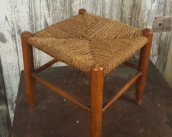Woven Top Stool Primitive Country Woven Hemp Rope Vintage Foot, Kids, Stool