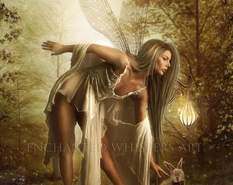 fairy and bunny fantasy art print