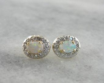 Oval and Diamond Halo Stud Earrings, Wonderful Bridal, Wedding Day Jewelry  ETQDY0-D