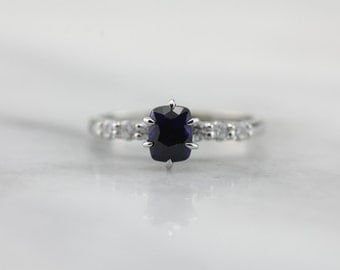 Navy Engagement, Sapphire and Diamond Engagement Ring  D0LYDN-N