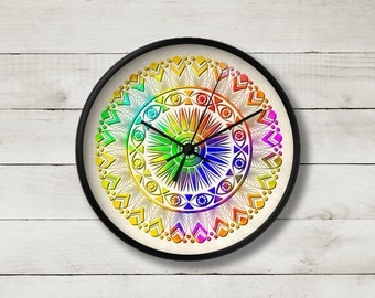 Art clock, Mandala wall clock, Unique home decor, Rainbow clock, Round clock, Holiday Hostess Housewarming Gift, Cmandala1
