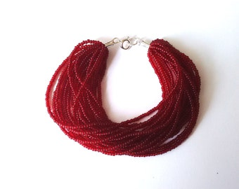 Ruby red statement bracelet, chunky bracelet, bridesmaid bracelet, beaded bracelet,dark red bracelet, cranberry bracelet,  seed bead jewelry