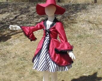 Girls 6-8 4 piece Red Hocus Pocus Striped Witch