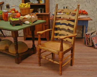 Farmhouse Ladderback Carver Chair 1/12th Scale Dollhouse Miniature Furniture