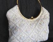 60s Bridal Beaded Purse / Bridal Hand Made Purse / Vintage Bridal Handbag / 60s Beaded Ivory Purse / hand made in Hong Kong