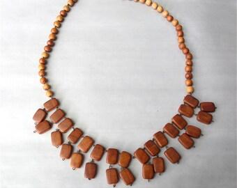 Scandinavian Style Norwegian Wood Bib Dangle Necklace Collar