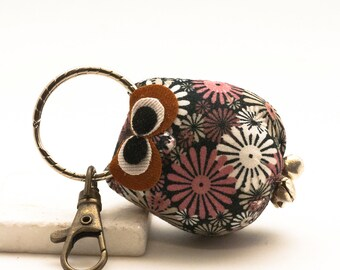 Cute Owl Key Ring, Floral Fabric Stuffed Animal Keychain, Owl Accessories, Decorative Owl, Owl Ornament, Key Chain Gift, Owl Lover Gift
