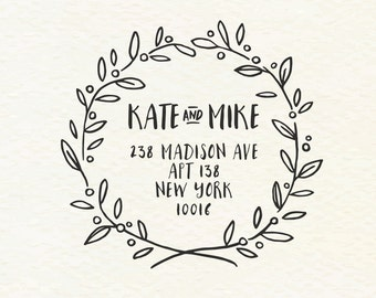 Custom Address Stamp, Rubber Stamp, Wedding Stamp, Thank You Stamp, Calligraphy Stamp, Save The Date Stamp