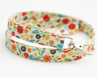 Multi Color Floral Fabric Lanyard with Swivel Clasp - Key Lanyard - ID Badge Holder - 19.5 Inch Strap - Teacher Lanyard - Cute Thin Lanyard